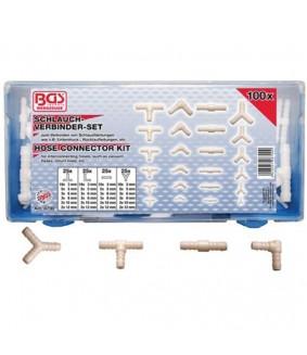 Assortiment de connecteurs de tuyaux caoutchouc et plastique BGS - 100 pièces