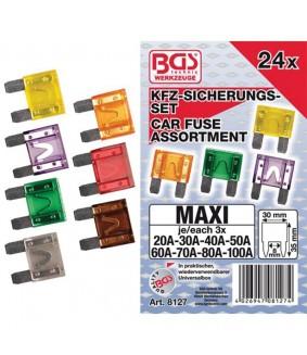 Assortiment de fusibles auto maxi BGS - 24 pièces